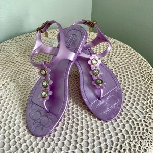 Lavender Jeweled Daisy Coach Jelly Sandals